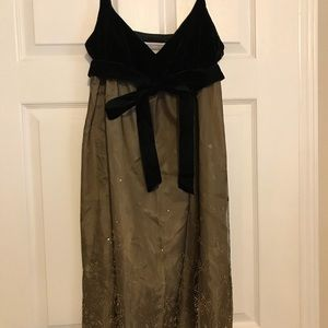 Black and gold cocktail dress.
